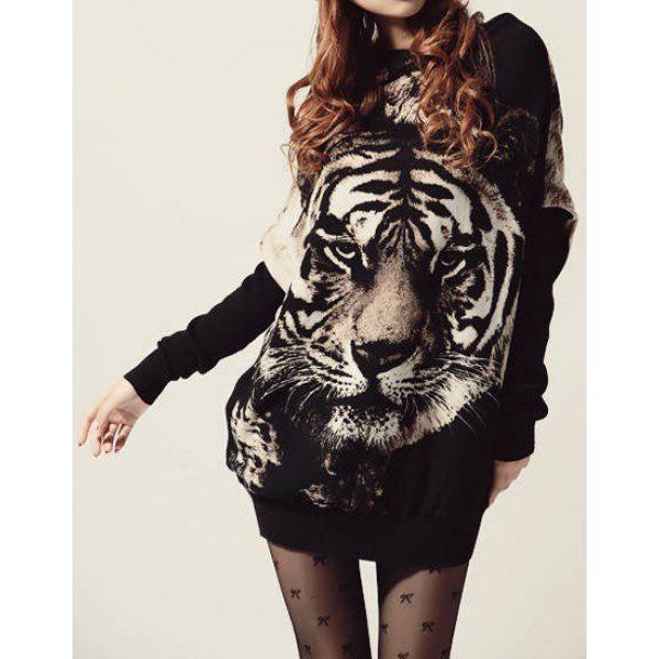 Stylish Jewel Neck Long Batwing Sleeve Tiger Pattern Women's Sweater