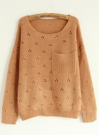 Hollw Out Round Neck Pink Sweater with Pocket S004202,  Sweater, Hollw Out Round Neck Pink Sweater, Chic