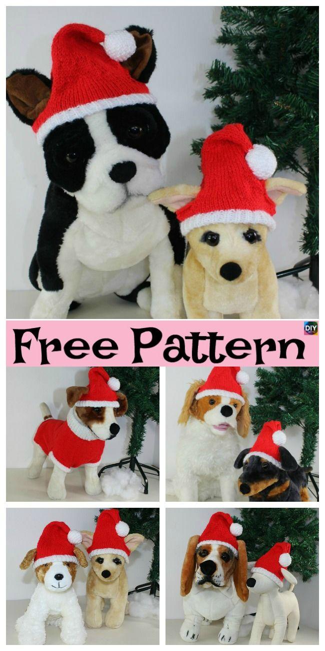 Knit Dog Santa Hat Free Patternt Freeknittingpatterns Santahat Pethat Christmas Knitting Crochet Santa Hat Pattern Knitting Patterns For Dogs