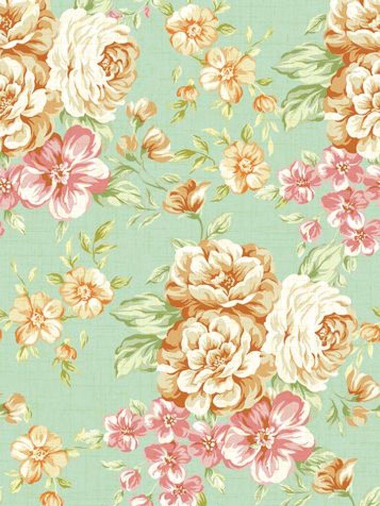 Pastel Blue Floral Ipad Mini Resolution 768 X 1024 Vintage
