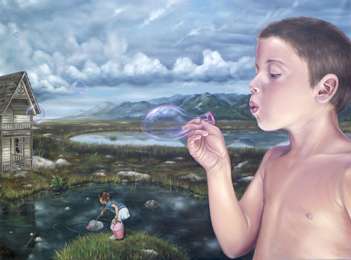 """David Lihard """"Après la pluie 2/2"""" (diptyque), huile sur toile, 97 x 130 cm, 2012"""