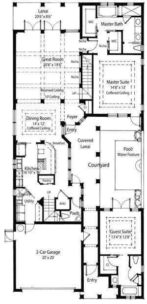 Plan 33047ZR: Energy Saving Courtyard House Plan | Drawing ... on narrow lot modular ranch plans, narrow houses floor plans, narrow lot house plans, narrow width floor plans,