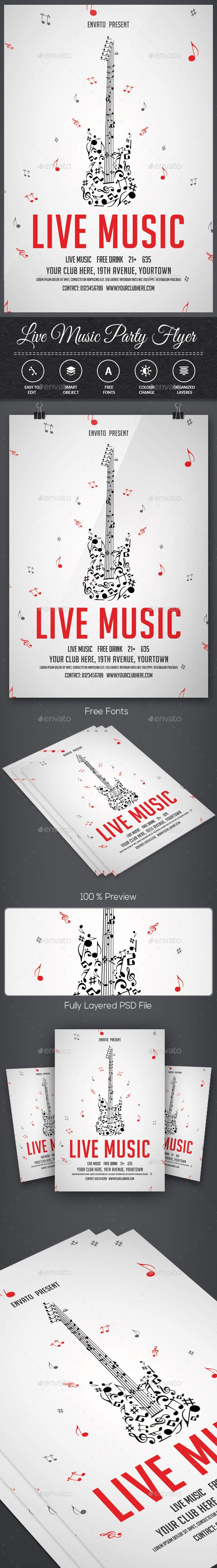 Live Music — Photoshop PSD #club #festival • Available here → https://graphicriver.net/item/live-music/14977821?ref=pxcr
