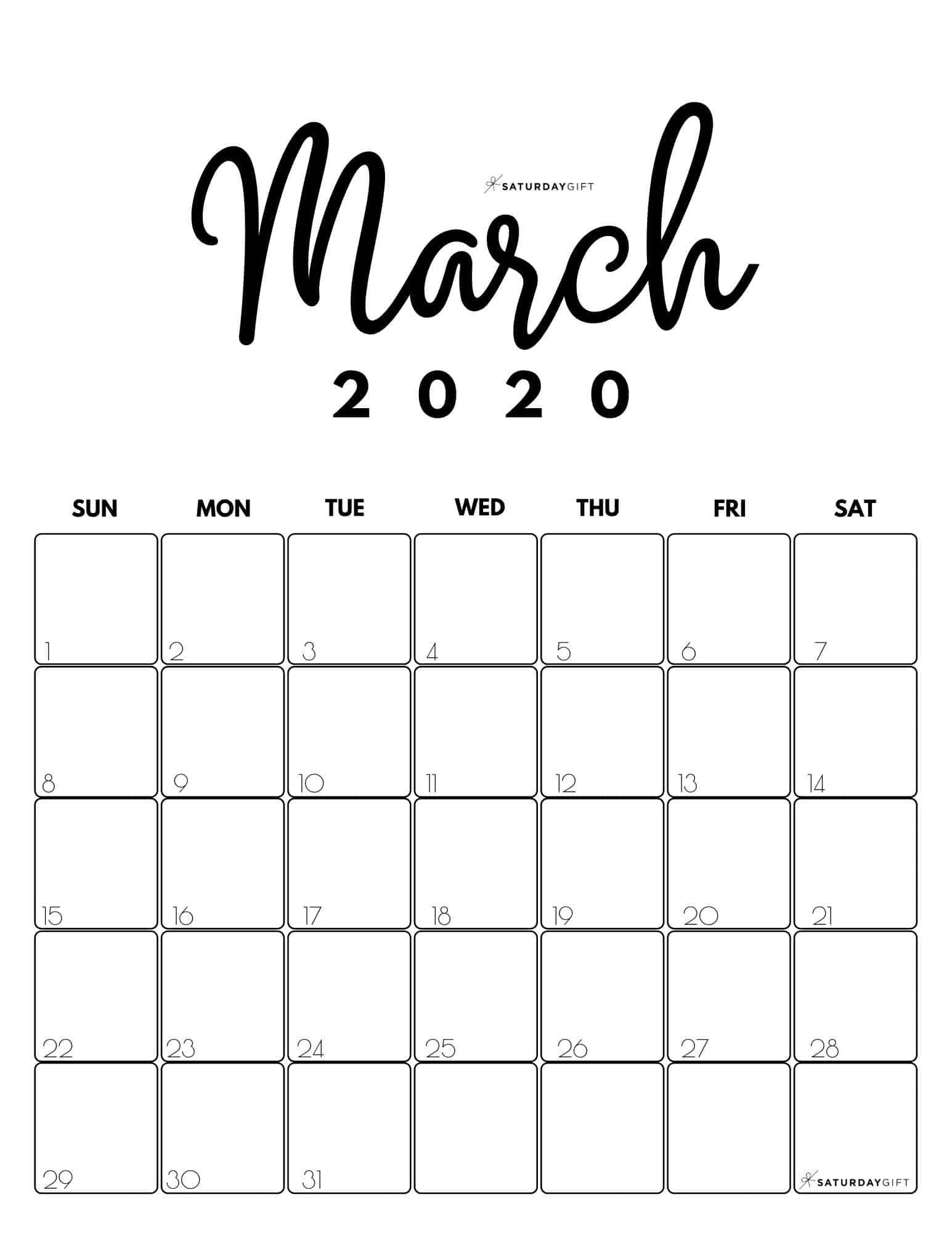 March Blank Calendar 2022.Cute Free Printable March 2022 Calendar Saturdaygift Monthly Calendar Printable Calendar Printables Calendar March