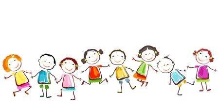 Gruppo Di Bambini Felici Che Giocano Disegni Divertenti Immagini Bambini