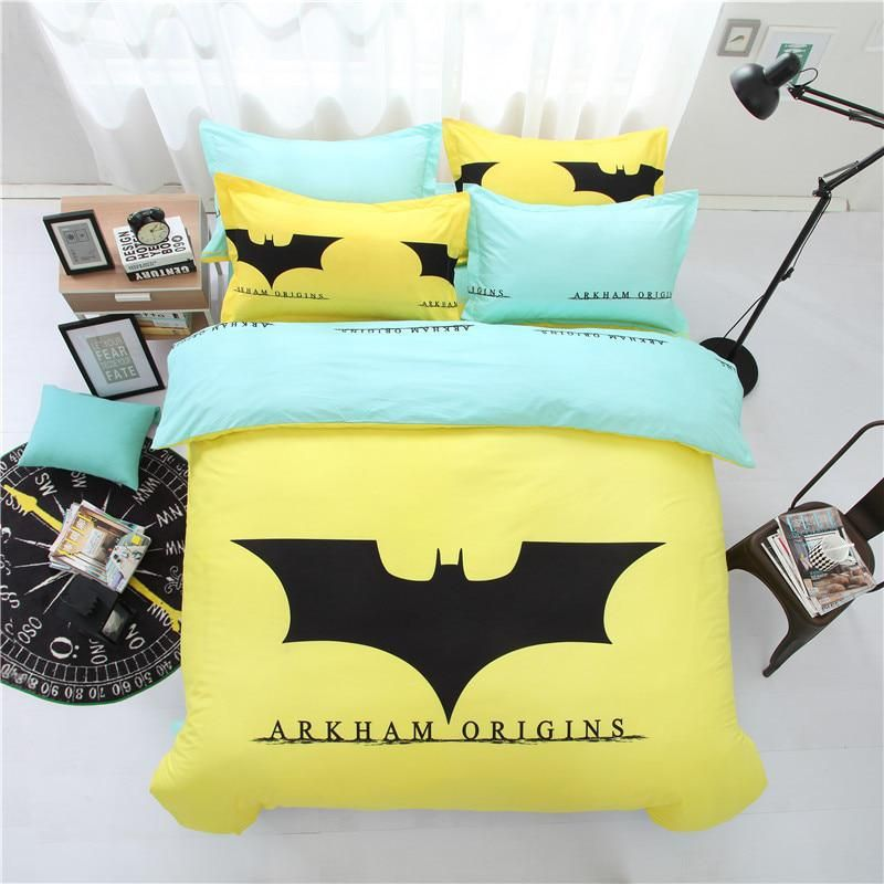 e75b69a9db55 Subcategory  Home Textile. Hot Sale Yellow Cartoon Batman Bedding Set Kids  Cute Cotton Bed Set 3 4pcs Bedclothes Include Duvet Cover Flat Sheet  Pillowcase.