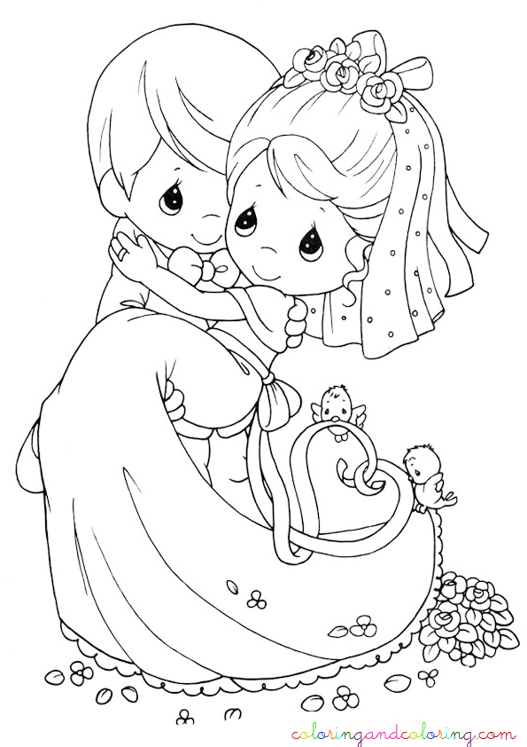wedding coloring pages | Coloring wedding precious moments ...