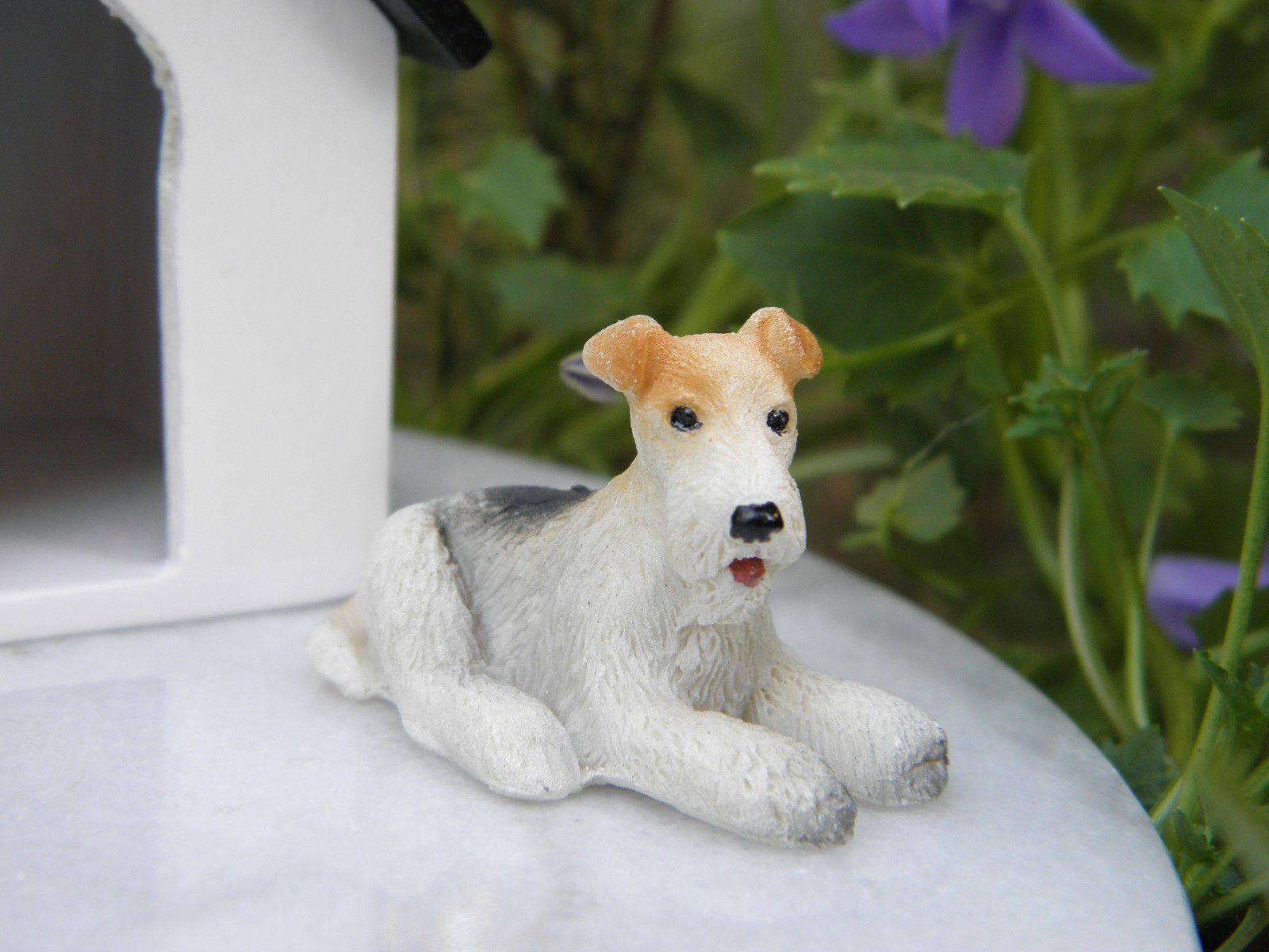 Miniature Dollhouse FAIRY GARDEN Accessories ~ Small Wire Fox Terrier Dog ~ NEW