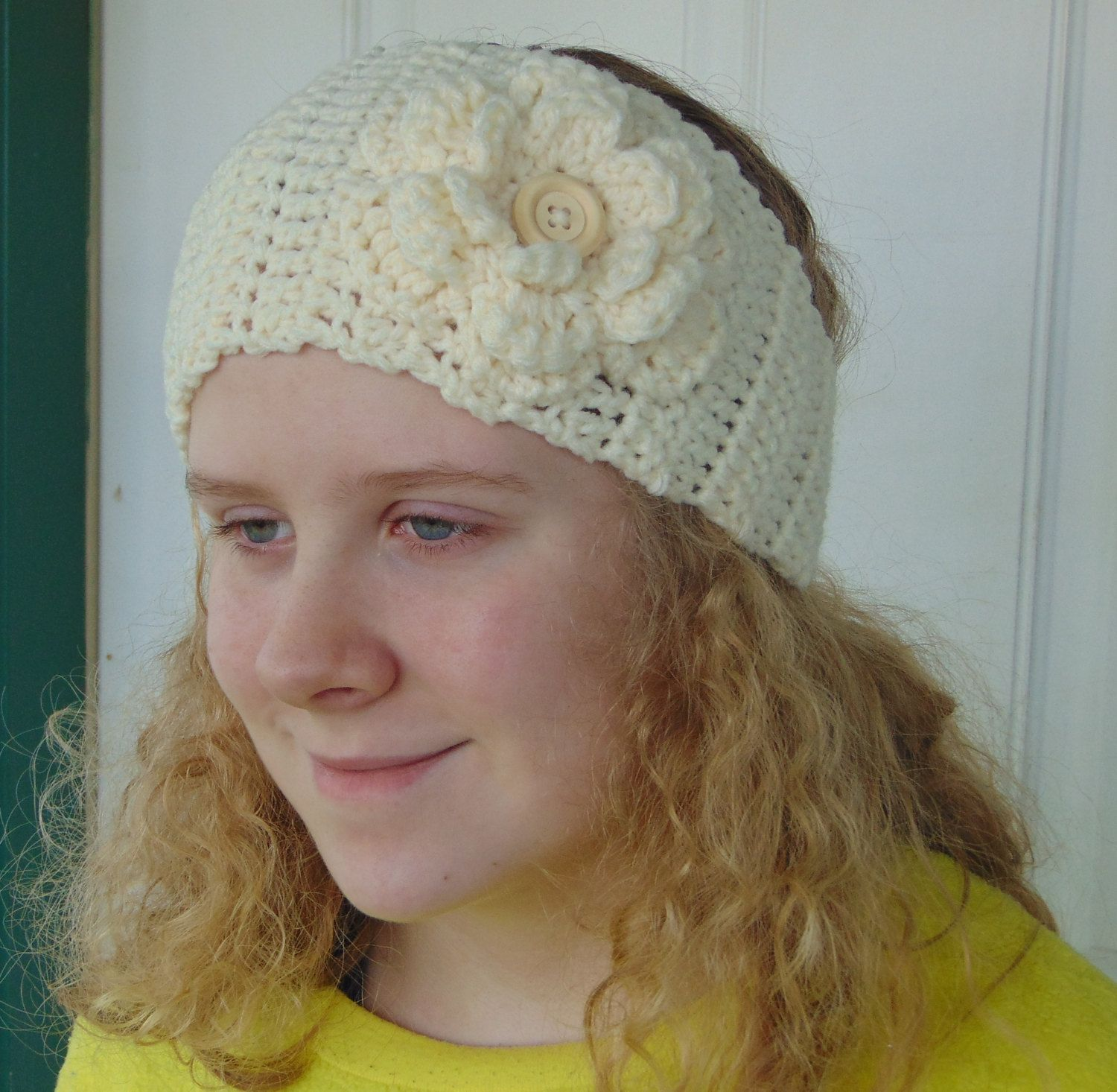 Limited Time SALE! Women\'s Crochet Ear Warmer With Button Closure ...