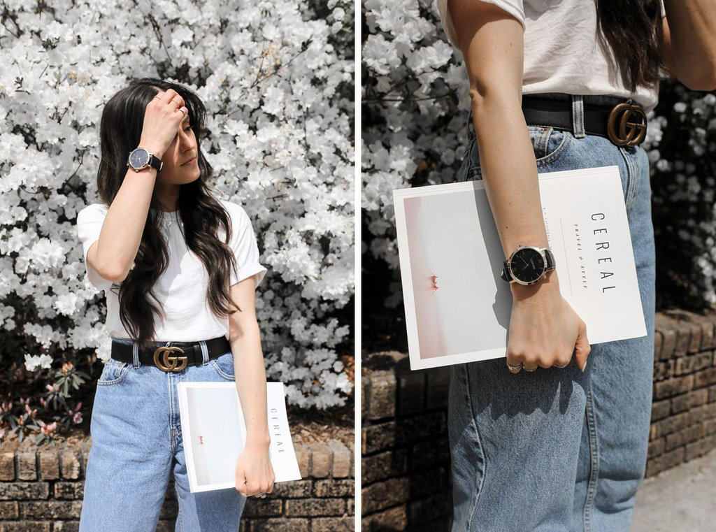 """Can we take a quick moment to talk about this watch? it pairs perfectly the whole basic, """"must-have-in-your-closet"""" theme of this fit. if you don't have a minimal, neutral color watch yet, get it on it. This one has been a new fav recently and has also helped me with the whole """"time"""" thing. I've been paying close attention to time lately and needed a little extra reminder here and there. this watch being eco-friendly doesn't hurt either."""