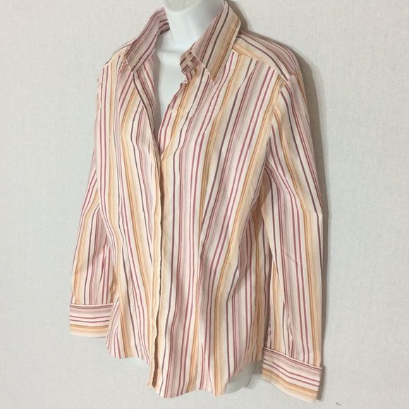 NWT New York & Company Striped Shirt Multi Colored NWT ⚜ New York & Company Button Down Striped Shirt Multi Colored⚜ Pinks, Burgundy and Golds on a White Background ⚜  Has Silver Glittery Threads Running Through The Stripes ⚜ Last 2 Photos are the original colors❤️ IF YOU LOOK VERY CLOSE TO THE LAST PHOTO, YOU CAN SEE I CAUGHT SOME OF THE SILVER GLITTERY THREADS IN THE COLLAR New York & Company Tops Button Down Shirts