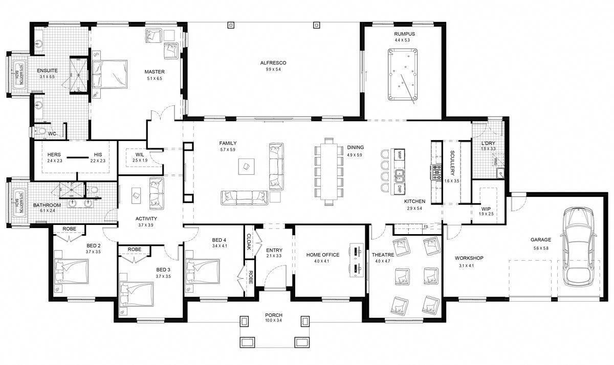 Mirage 52 Acreage Level Floorplan By Kurmond Homes New Home Builders Sydney Nsw Luxuryhomeinterio Mansion Floor Plan Home Design Floor Plans Floor Plans