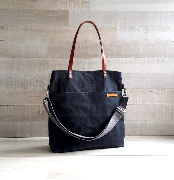 Photo of Canvastaschen – Waxed Canvas Tote Bag – CHARCOAL GREY / BLACK – ein Designerstü…