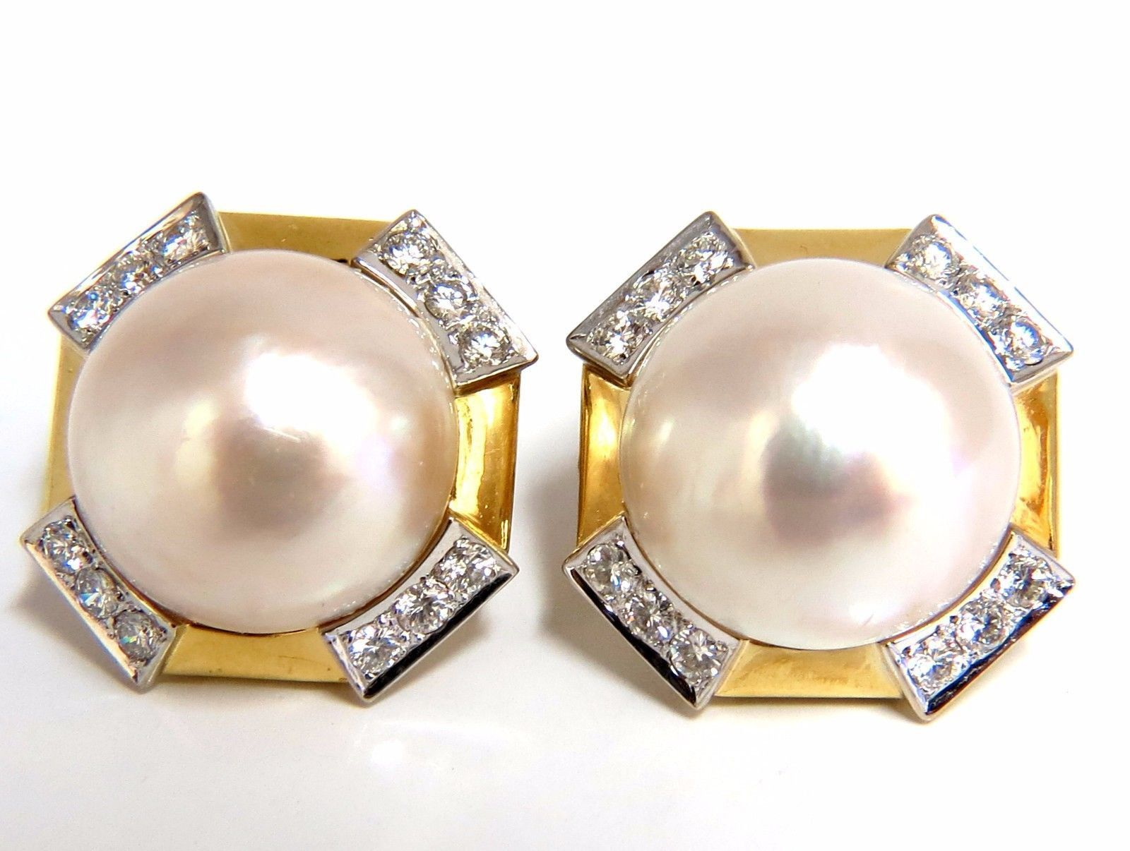 f1b2d6404562a 2.40ct. diamonds mabe pearl clip earrings 18kt omega vintage deco ...