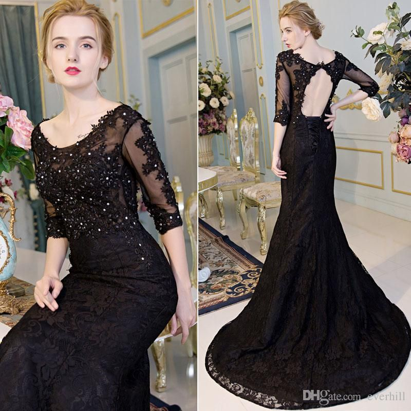 Black Half Sleeves Lace Evening Gown (02140700) | Robe