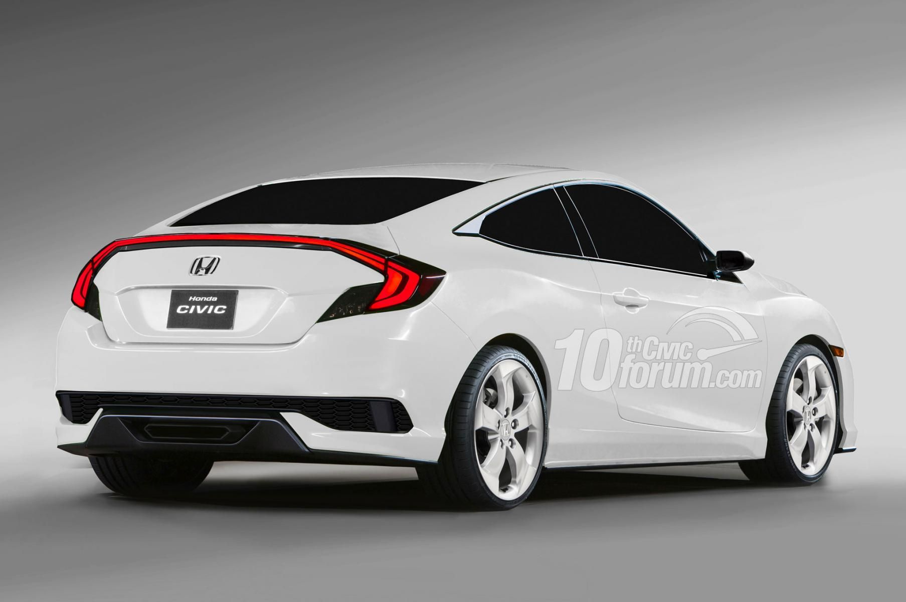 Rear view. Honda Civic Hatchback. 2016 Honda civic coupe