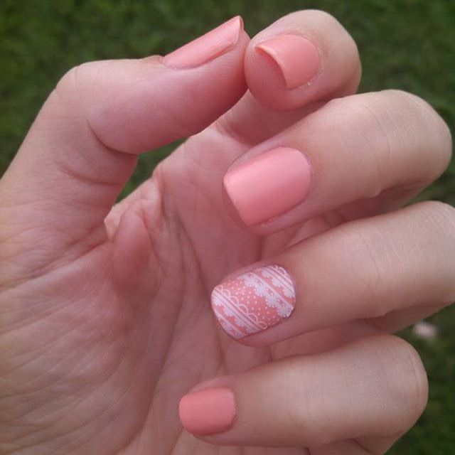 Light peachy pink manicure using Jamberry\'s Fanfare lacquer and an ...