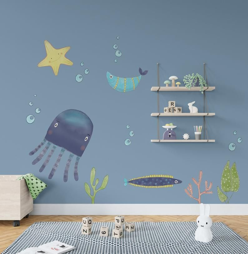 Underwater Wall Decals Sea Life Room Stickers Nautical   Etsy