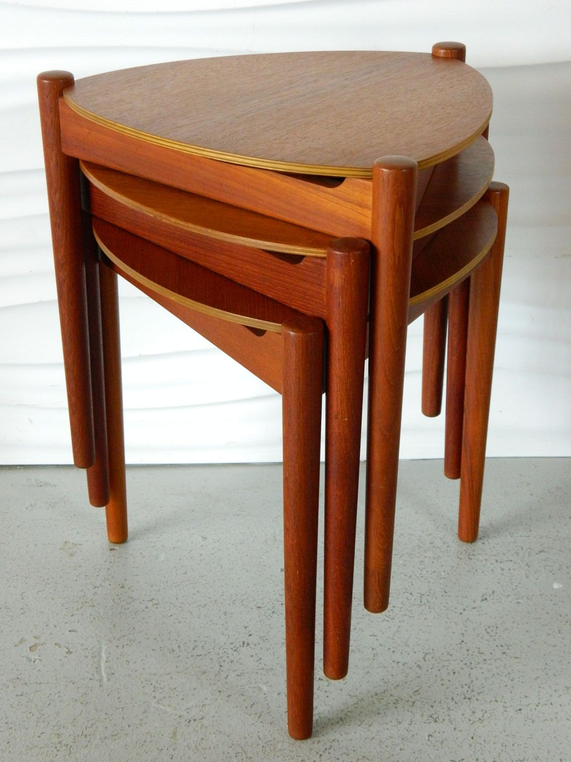 Trio of Bramin Teak Stacking Stools or Side Tables   Furniture ...