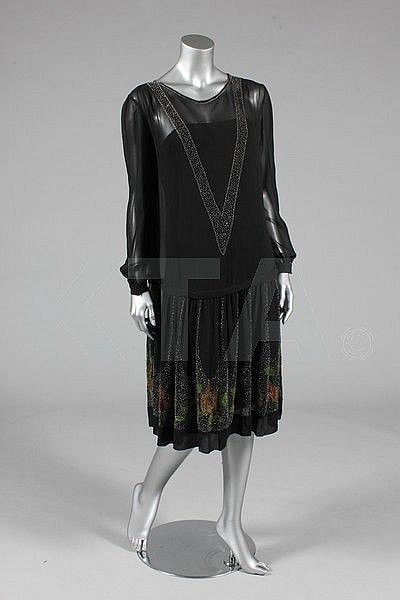 A beaded black chiffon dress, late 1920s, Kerry Taylor Auctions