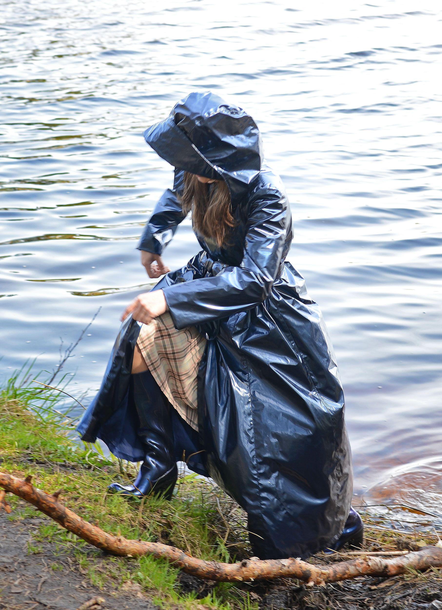 Blue PVC Hooded Raincoat Raincoat, Rain wear, Fashion