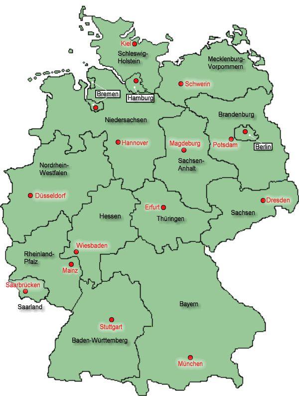 Bundeslander In Deutschland Karte Deutschland Allgemeinbildung