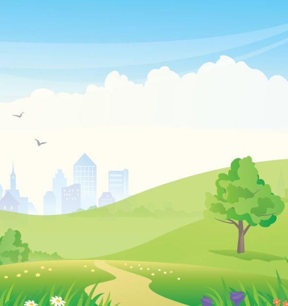 Creative Cartoons Birds In Urban Park Vector With Greenery Tree In Their Background Cartoon Park Landscape Background Prezi Background