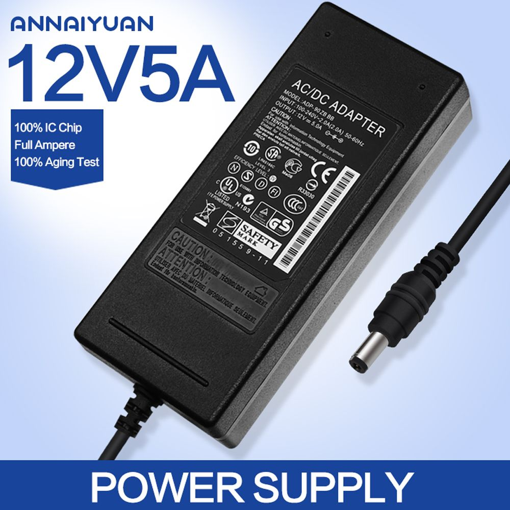 1pcs 12v5a Ac 100v 240v Converter Adapter Dc 12v 5a 60w Power Supply Dc 5 5mm X 2 5mm For 5050 3528 Led Light Lcd M Led Power Supply Power Adapter Power Supply