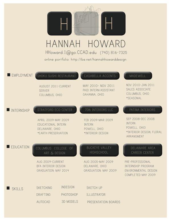 Resume by Hannah Howard, via Behance DesignBrand Me Pinterest - resume valley