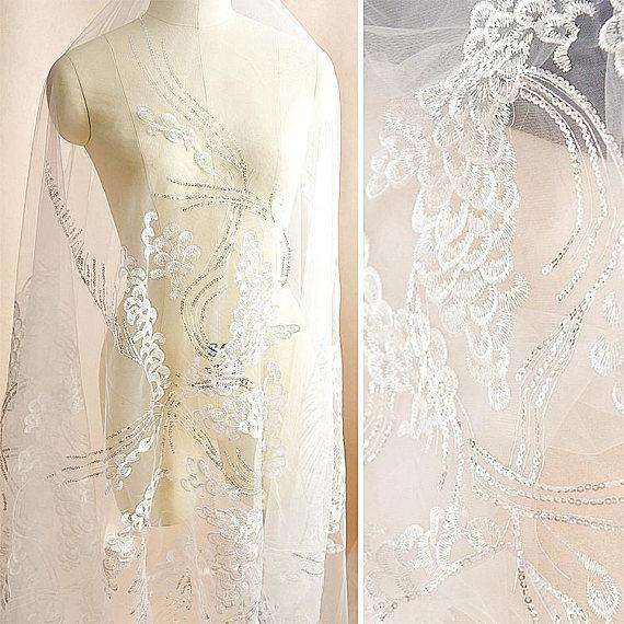 "0.5Meter Sequins Star Embroidery Gauze Fabric DIY Wedding Dress 51.18/"" Width"