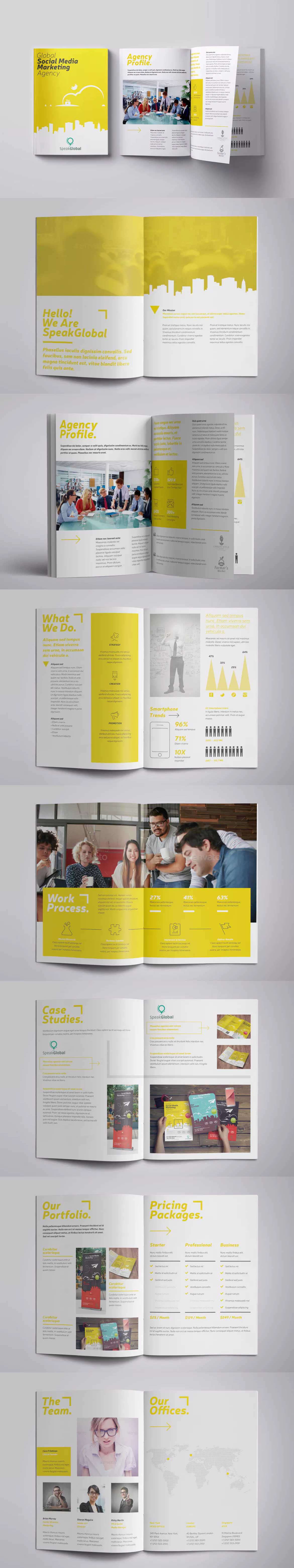 Social Media Brochure Template PSD, INDD A4 | Magazine layout ...
