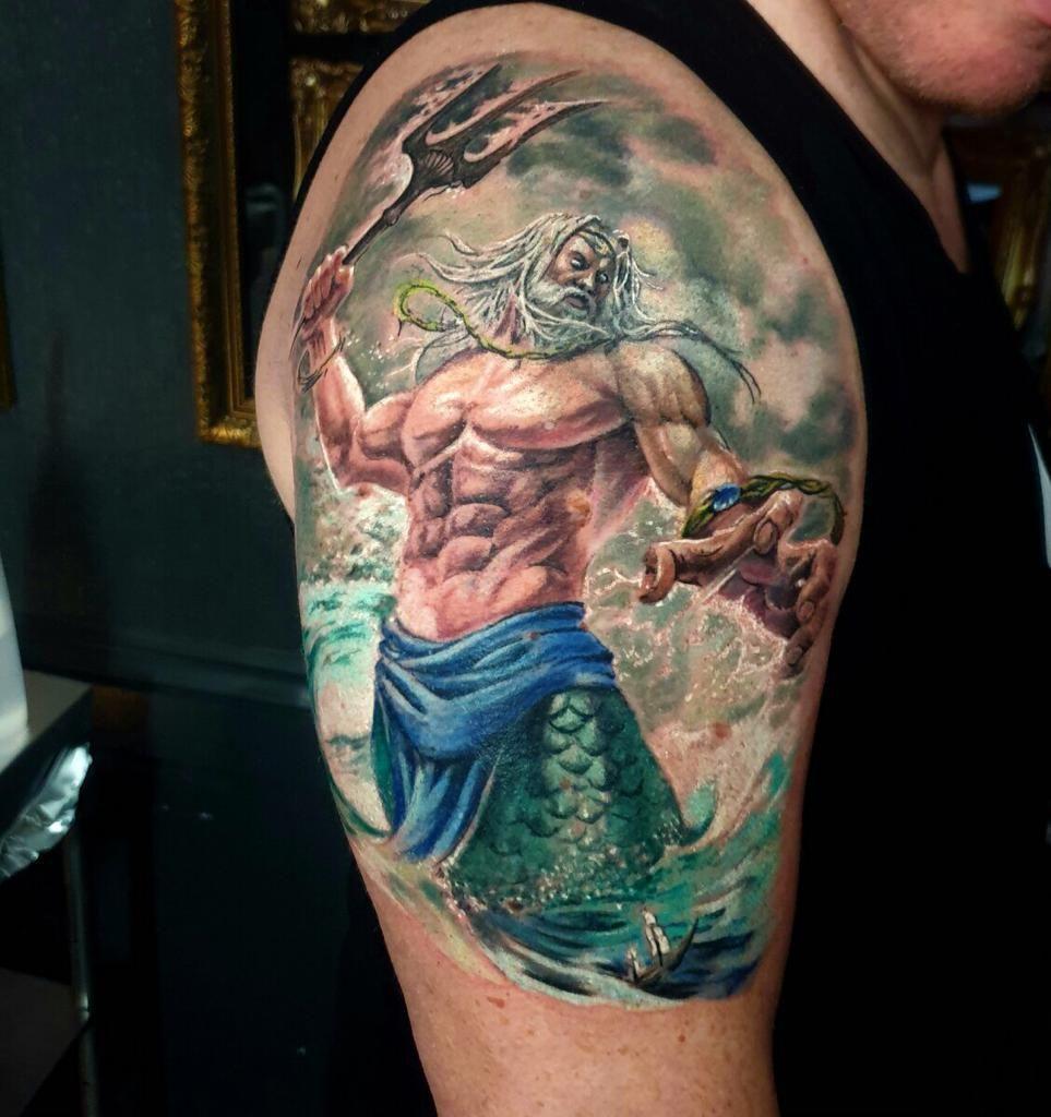 Trident Tattoo Company: Poseidon Tattoo By Roman! Limited Availability At Revival