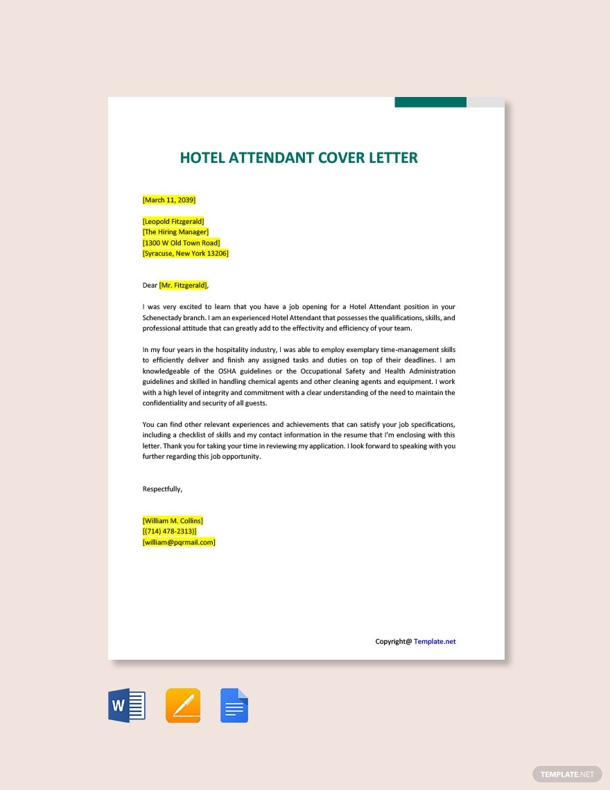 FREE Hotel Attendant Cover Letter Word Google Docs