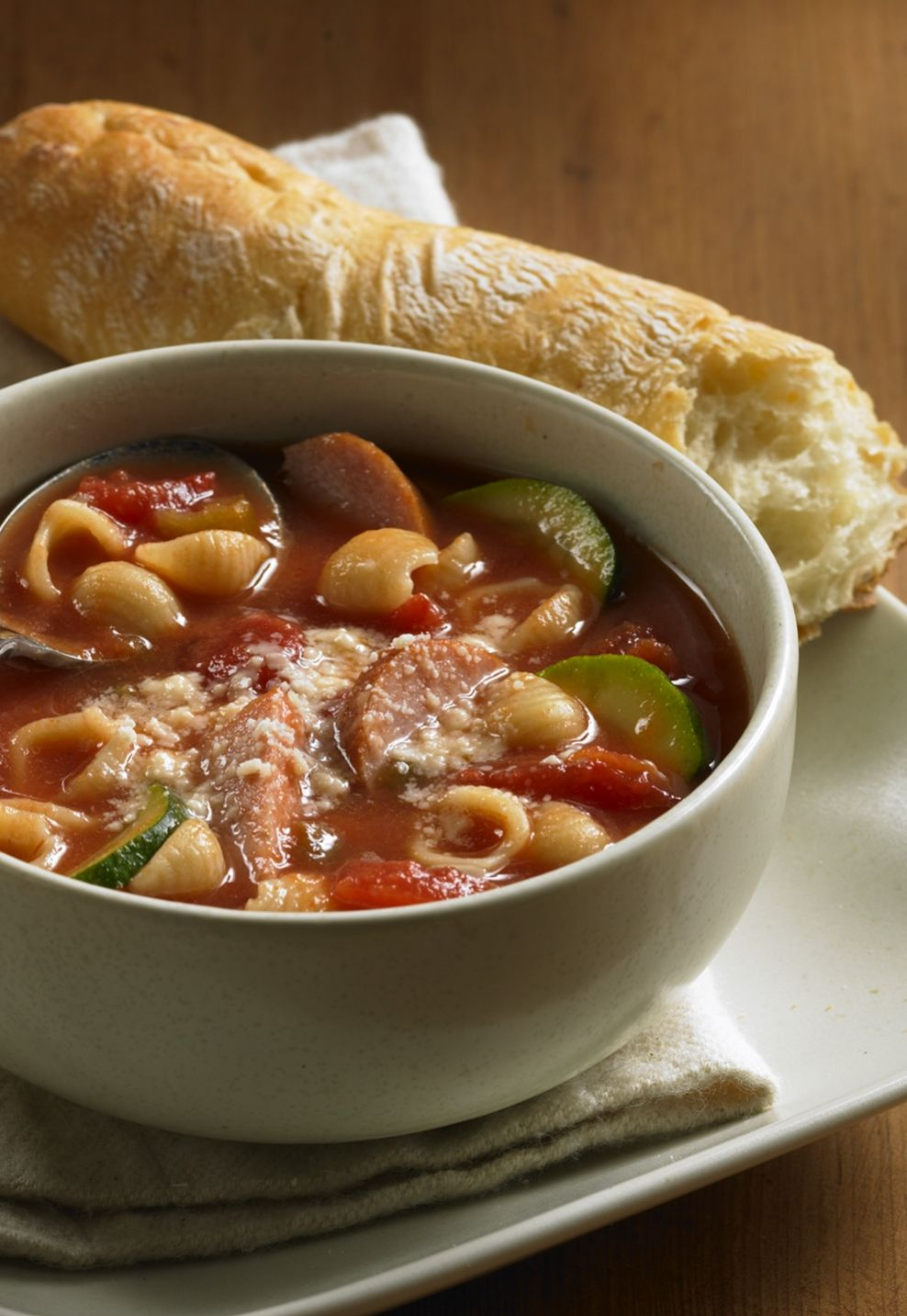 Warm up with this quick-and-easy soup featuring smoked sausage, zucchini, stewed tomatoes and macaroni.