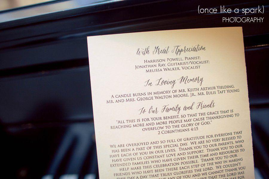 Christian Wedding Ideas Thank You Note Scriptures 2 Corinthians Grace Appreciation In Loving Memory Program