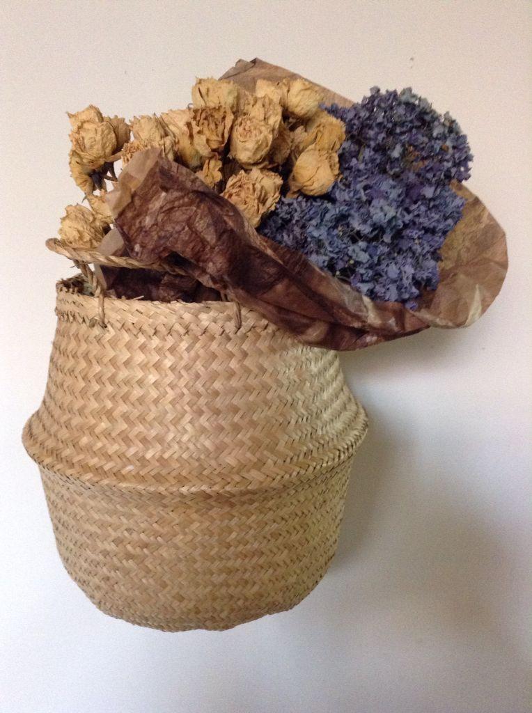 La belleza de las flores secas Madera, crudos y turquesas - flores secas
