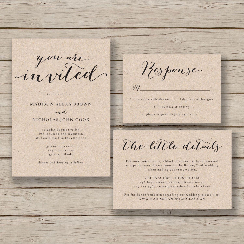 Cheap Print Your Own Wedding Invitations: Rustic Wedding Invitation Template