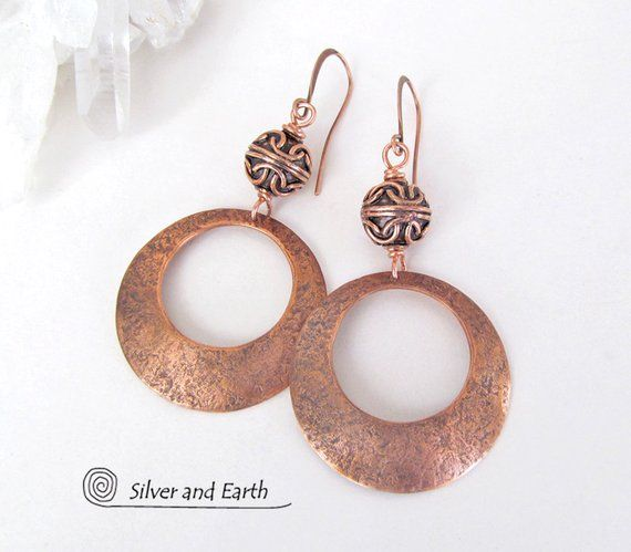 Copper Hoop Earrings With Filigree Beads 7th Anniversary Gift For Wife Elegant Chic Modern Gifts Women