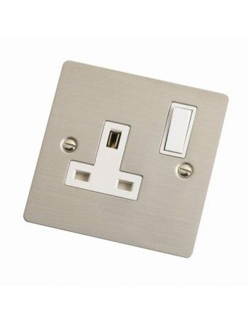 Slim Satin Stainless Steel Single Switched #Socket