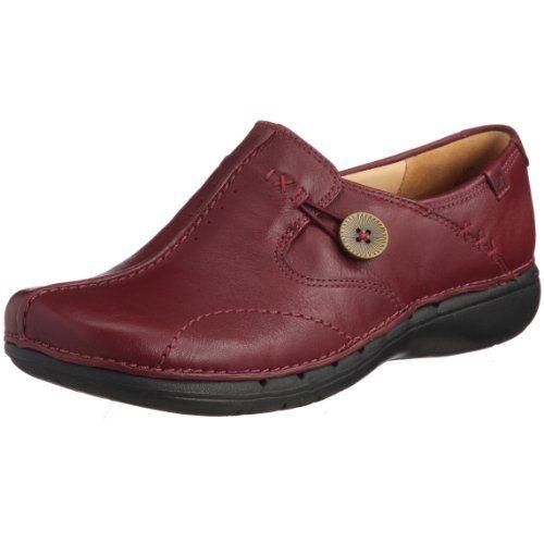 Ladies Clarks Un Structured Slip On Shoes Un Loop Wine Size 5.5D Clarks  http: