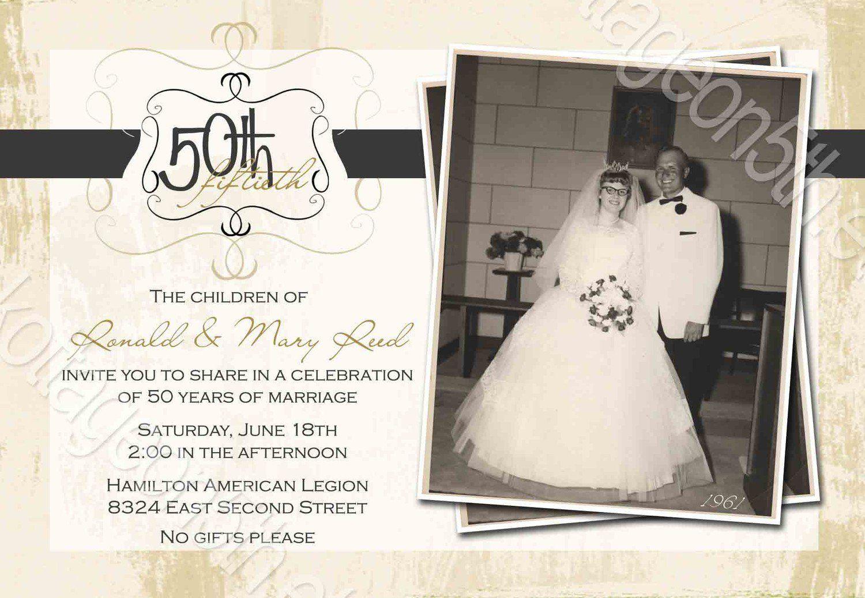 Free Printable 50th Wedding Anniversary Invitation Templates #50freeprintables