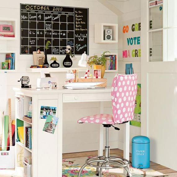 ideas for my desk....love chalkboard and shelves
