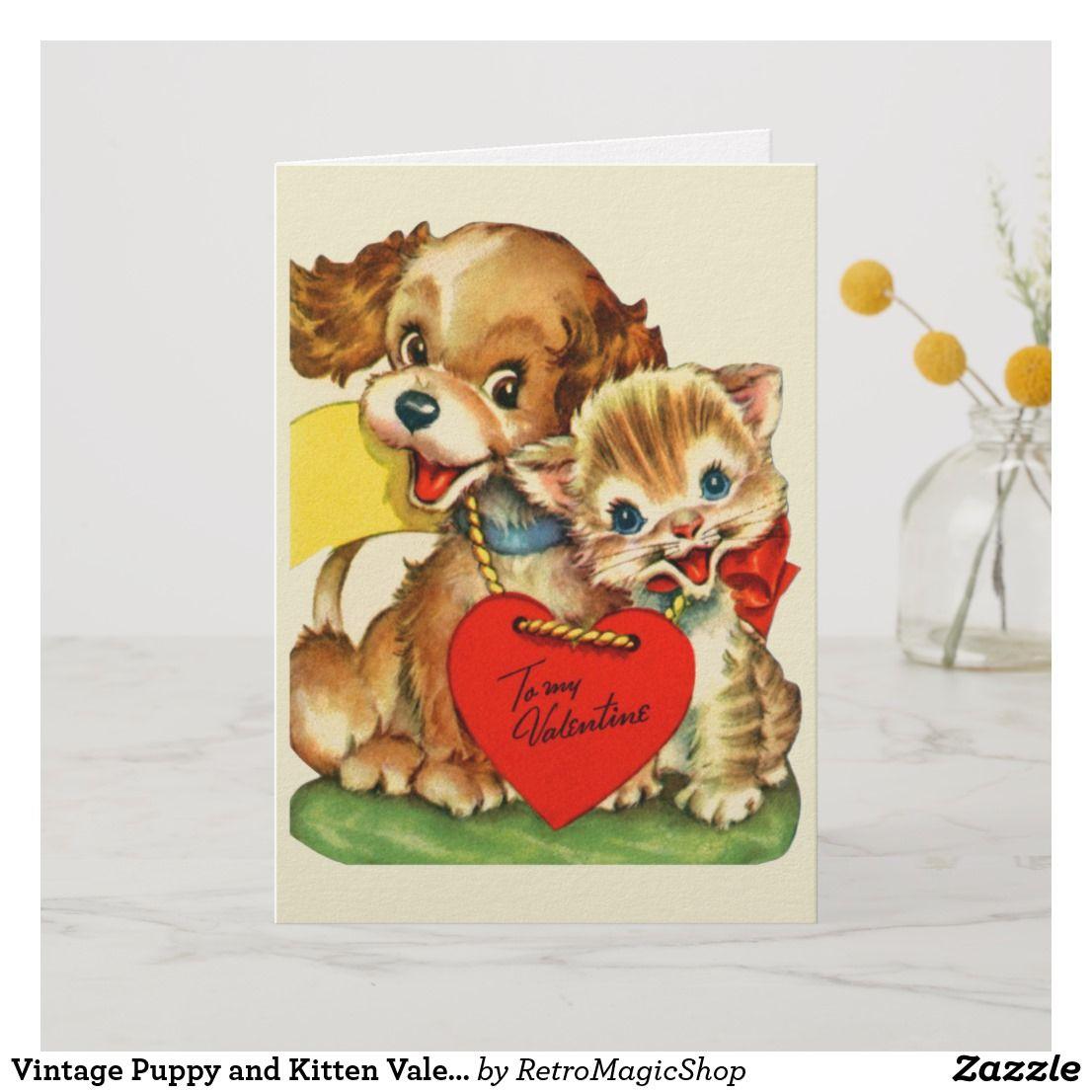 Vintage Puppy And Kitten Valentine S Day Card Zazzle Com Vintage Valentine Cards Retro Valentines Puppy Valentines