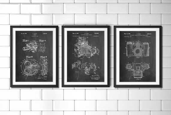 $19.99 Photography Patent Posters Group of 3. Photography Decor. Camera Wall Art. Photographer Gift.