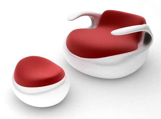 This lounge chair design was inspired by a fictional sea creature with 2 gills on both sides resembling air-intakes of a supercar. The designer, Pouyan Mokhtarani, said that this chair offers a comfortable surface to recline, you'd feel like you were floating on the water surface. A relaxing feeling that you need while watching a movie, playing video games, or just listening to music.