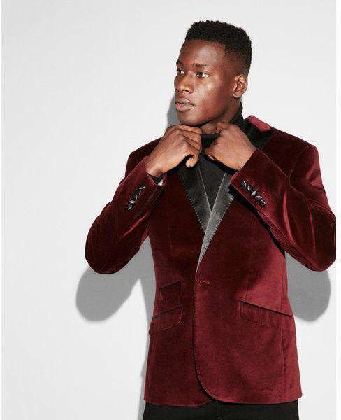 257e3cace44a Express slim burgundy velvet cotton tuxedo jacket   Products   Mens ...