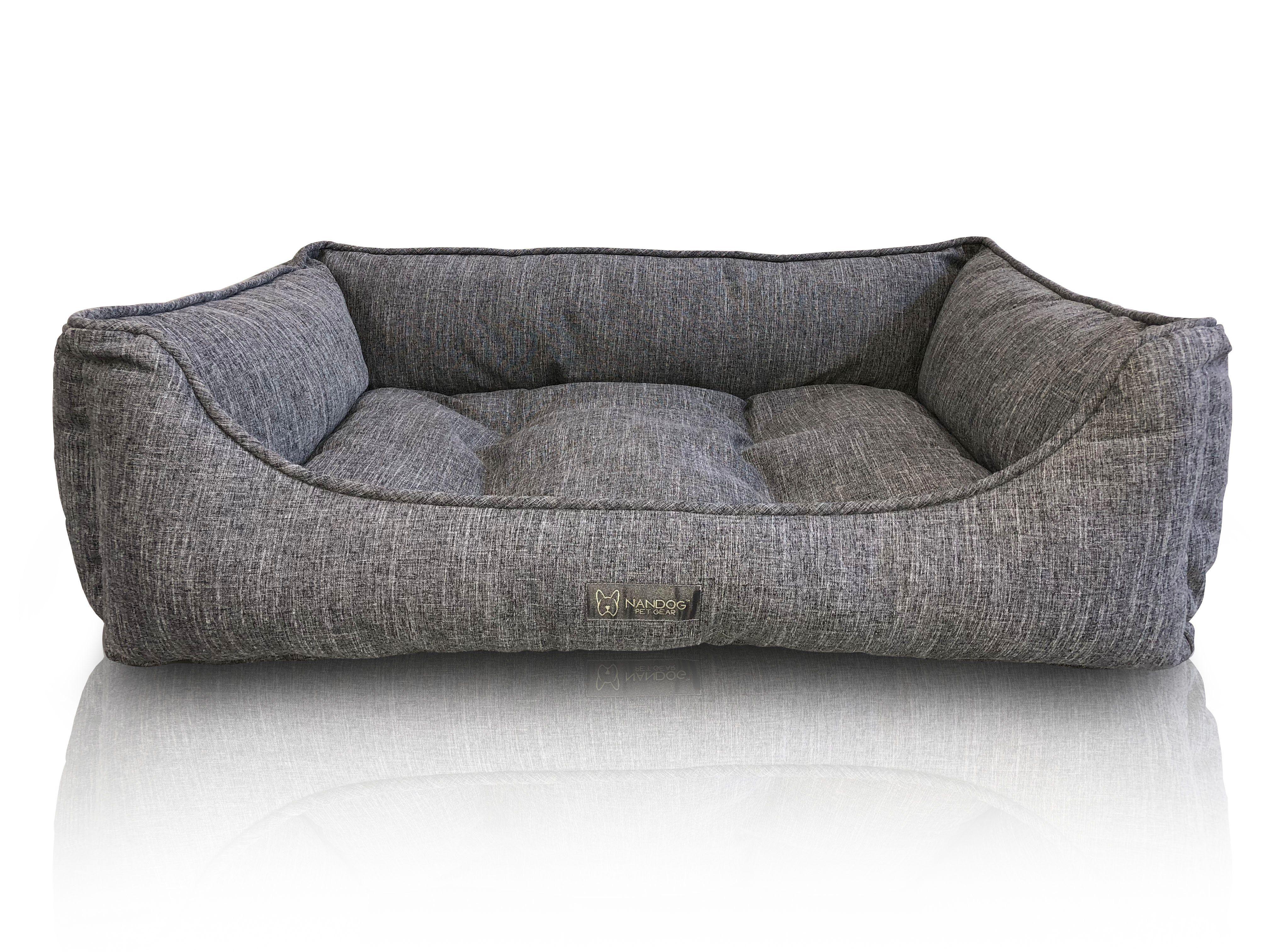 Poplin Large Reversible Dog Bed Gray I Nandog Dog Bed Stylish Dog Beds Dog Bed Modern