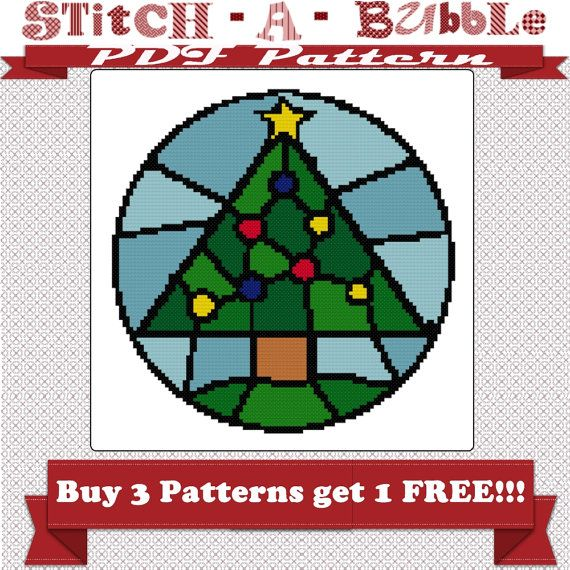Stained Glass Christmas Tree Counted Cross by stitchabubble, $550