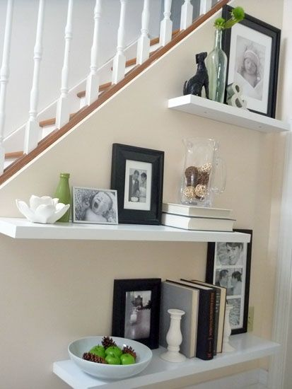 Elegant How To Decorate Floating Shelves At Base Of Stairs