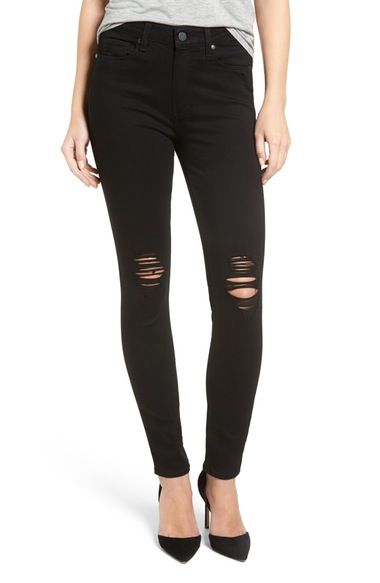 PAIGE Transcend - Hoxton High Rise Ultra Skinny Stretch Jeans (Black Coal Destroyed) available at #Nordstrom